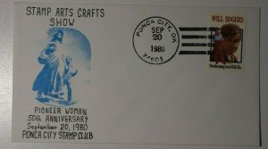 Ponca City Ok Stamp Arts Crafts Show Pioneer Woman 1980 Philatelic Expo Cachet