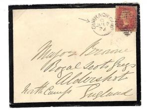 AD186 c1873 GB MILITARY IRELAND *Curragh Camp* Duplex Mourning Cover SCOTS GREYS