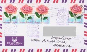 RARE THAILAND ROSE 2017 AIR FDC TO ARTSAKH KARABAKH ARMENIA R18259
