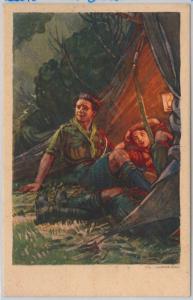 BOY SCOUTS - Vintage postcard ITALY - Artist signed  MEZZANA #3