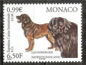 Monaco 2001 Dogs MNH**
