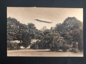 1912 Flensburg Germany RPPC Postcard Cover Zeppelin Over Park To Hong Kong