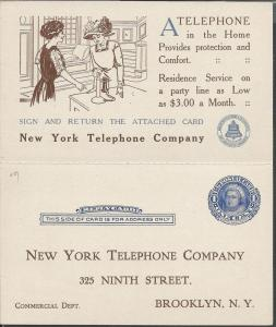 Telephone Advert, 1c Blue Reply Card, UY5, Postal Cards