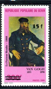 Benin 1984 VAN GOGH Ovpt. new value Perforated Mint (NH)