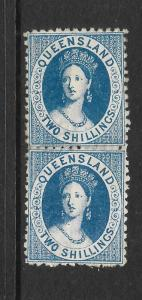 QUEENSLAND 1880  2/-    QV   MNH   PAIR      SG 119