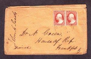 US 10a 1851 3c Washington Pair on Cover Scarce Kentucky Usage! SCV $600 (023)