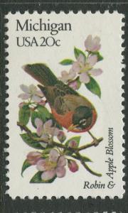 USA - Scott 1974 - State Birds & Flowers - 1982 - MNG - Single 20c Stamp