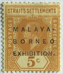 Malaya-Borneo Exhibition opt Straits Settlements KGV 5c Oval 0 MCCA MH SG#243b