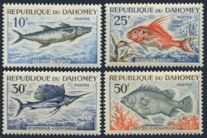 Dahomey 205-208,MNH.Michel 258-261. Fish 1965.