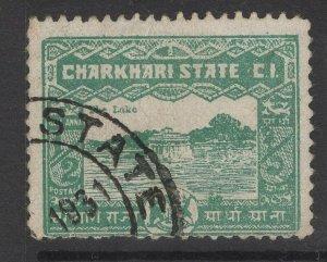 INDIA-CHARKHARI SG45(c) 1931 ½a BLUE-GREEN p11½ USED