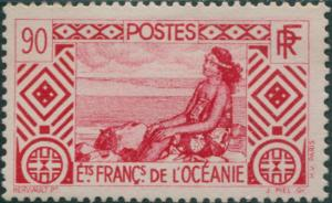 French Oceania 1934 SG105 90c red Tahitian Girl MLH