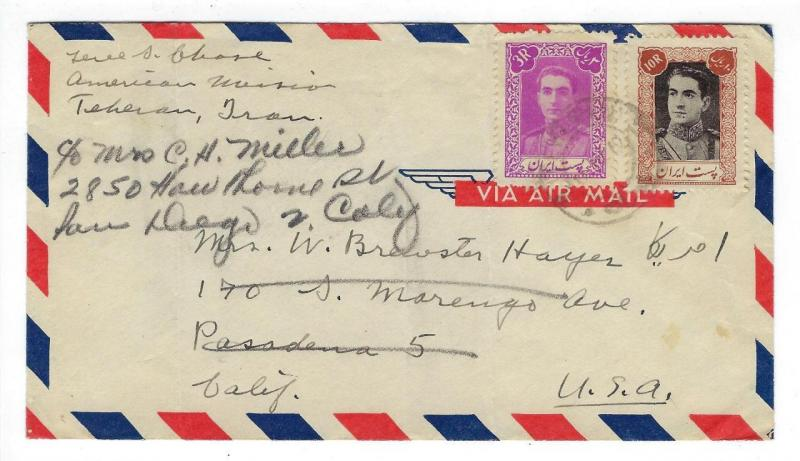 1949 Iran To USA Airmail Cover - (RR84)