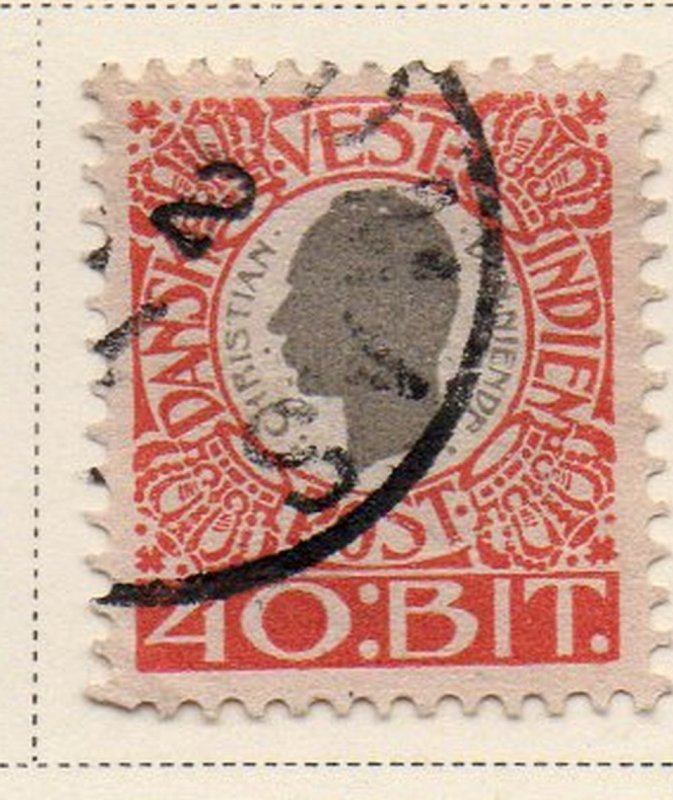 Danish West Indies Sc 35 1905 40 bit red & gray Christian IX stamp used