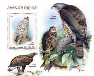 Sao Tome & Principe 2021 MNH Birds of Prey Stamps Raptors Gyrfalcon 1v S/S