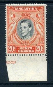 KUT 1938 KGVI 20c perf 14 SG 139a black + orange mint