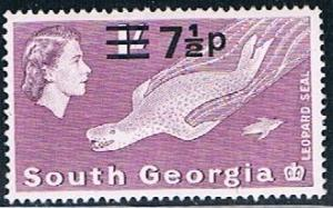 South Georgia 26b variant, 7.5p on 1/- Leopard Seal, MNH, VF