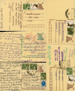 INDIA POST INDEPENDENCE LOT OF 8 USED POSTAL STATIONERY POSTCARDS AS SHOWN