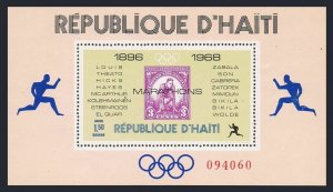 Haiti 616P sheet,MNH.Mi 1044 Bl.35. Olympic Marathon Winners,1969.US stamp #718.