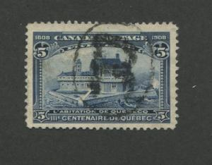 1908 Canada Champlain's Home in Quebec 5c Postage Stamp #99 Value $70