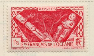 French Oceania 1939 Early Issue Fine Mint Hinged 1.25F. NW-09761