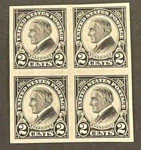 Scott#: 611 - Harding 2c 1923, Imperf Block of 4, Mint MNH OG - Lot 3