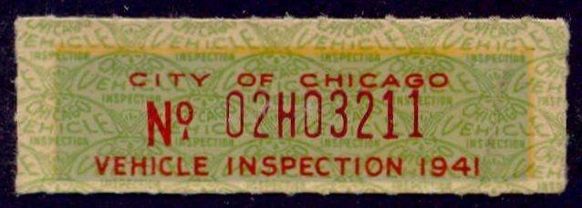 Illinois - City of Chicago Revenue Stamp 1941 Vehicle Inspection Tax