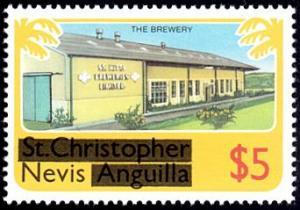 Nevis # 111 mnh ~ $5 Overprint Definitive