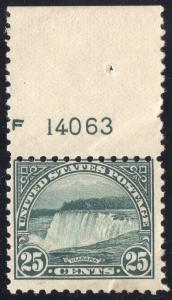 US#568 Deep Green - Top Margin Plate Number Single - Mint - O.G. - N.H..