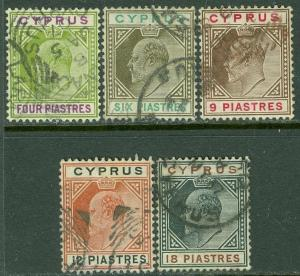 CYPRUS : 1904-10. Stanley Gibbons #66-70 Used. All Choice & Very Fine. Cat £112.