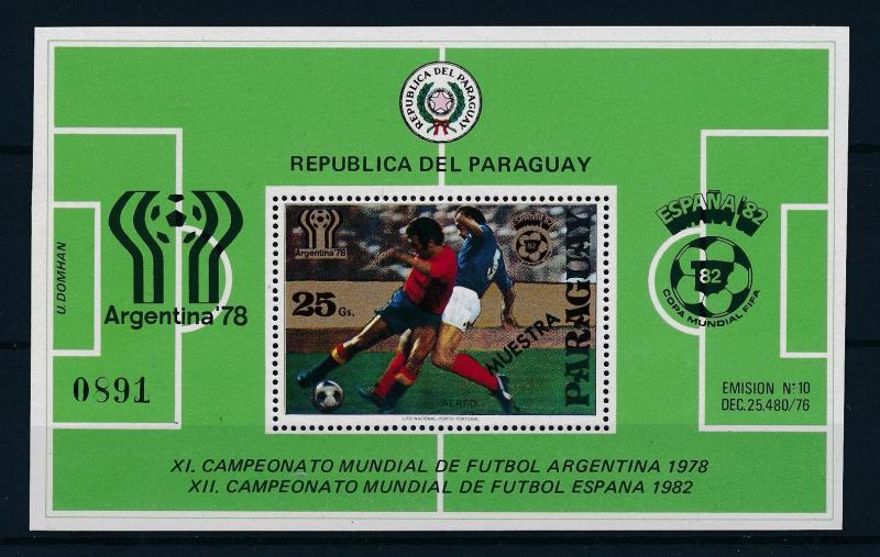 [60739] Paraguay 1979 World Cup Soccer Football Overprint Muestra MNH Sheet