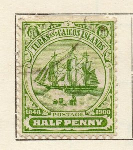 Turks Islands 1900 Early Issue Fine Used 1/2d. NW-115813
