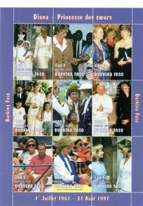 Burkina Faso 1997 Diana/Hillary Clinton Shlt(9) Sc#1127A MNH