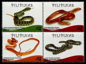 HERRICKSTAMP NEW ISSUES PHILIPPINES Sc.# 3735 Snake Block of 4