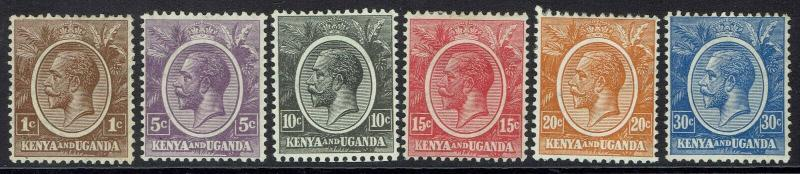 KENYA AND UGANDA 1922 KGV RANGE TO 30C
