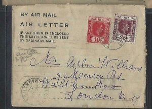 MAURITIUS  COVER (PP0111B) 1946 FORMULA AIR LETTER KGVI 10C+25C TO ENGLAND