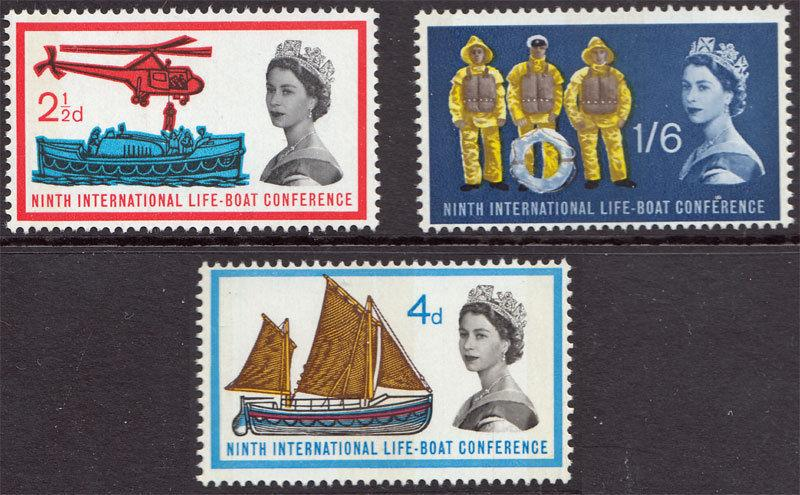 GB QEII 1963 Lifeboat Conference Phosphor SG639/641p Mint Never Hinged MNH UMM