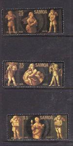 Samoa-Sc#634-6-Unused NH set-Christmas-The Three Virtues-1984-