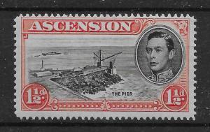 ASCENSION SG40ca 1949 1½d BLACK & VERMILION p14 DAVIT FLAW MTD MINT