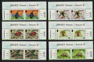 Jersey Bee Bumblebee Wasp Ladybird Insects 6v Top Pairs SG#1393-1398