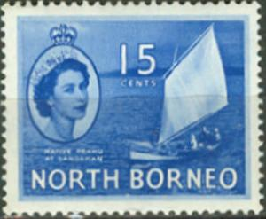 North Borneo # 268  15c Native Sail Boat (1) Unused VLH