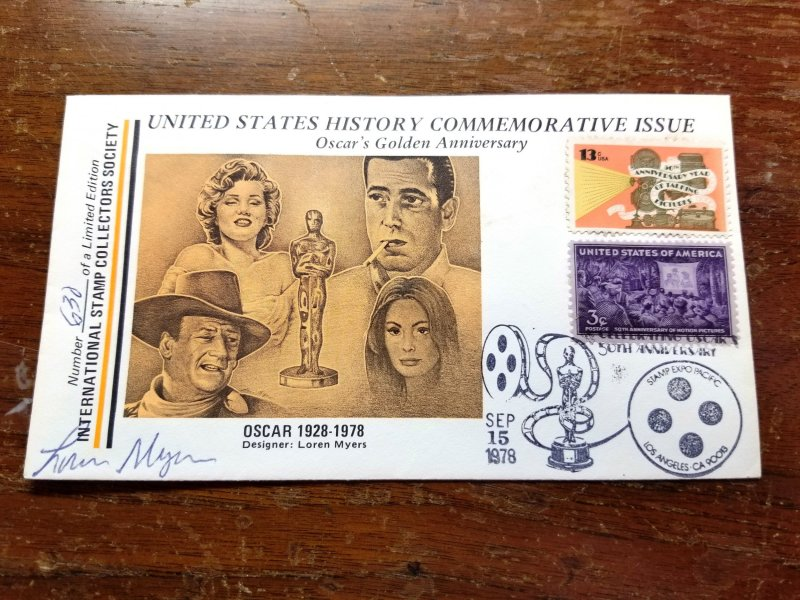 1978 Event cover, 'Oscar's Golden Anniversary' Autographed by Loren Myer