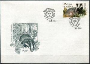 Czech Republic 2014. European badger (Meles meles) (Mint) First Day Cover