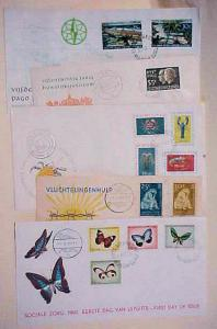 NETHERLANDS NEW GUINEA 5 DIFF. FDC 1960-192 CACHET UNADDRESSED