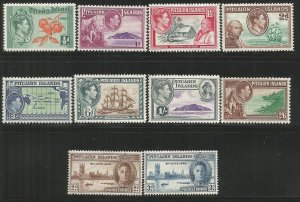 PITCAIRN ISLANDS 1-8 HINGED, 1940-51 ISSUE