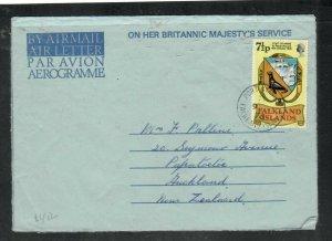 FALKLAND ISLANDS (P3005B)  1976 QEII 7 1/2P SEAL ON FORMULA AEROGRAM TO NZ