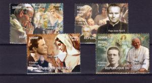 Chad 2011 Pope John-Paul II/Father Dolindo Ruotolo Set (4)  Perforated MNH