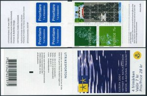 Sweden 2413 ad booklet,MNH. EUROPE CEPT-2001.Waterways and ships.