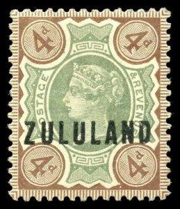 Zululand 1888 QV 4d green & brown very fine mint. SG 6. Sc 6.