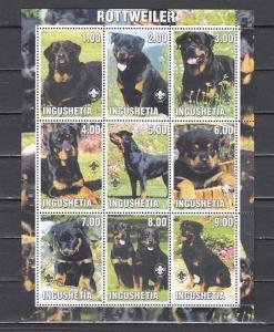 Ingushetia, 2000 Russian Local. Rottweiler, Dog sheet of 9. Scout Logo.