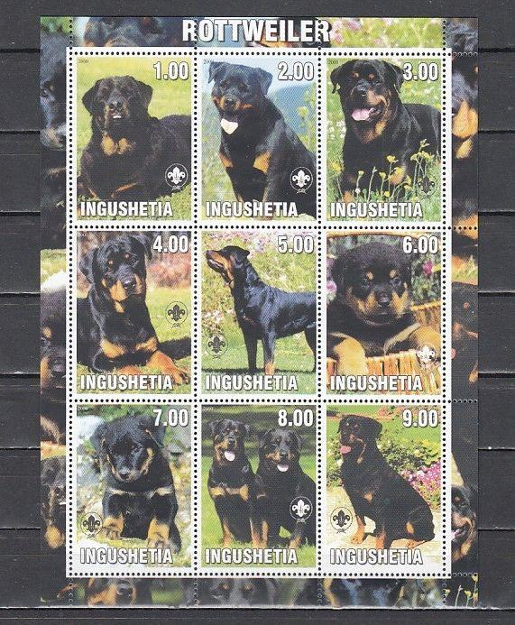 Ingushetia, 2000 Russian Local. Rottweiler, Dog sheet of 9. Scout Logo.